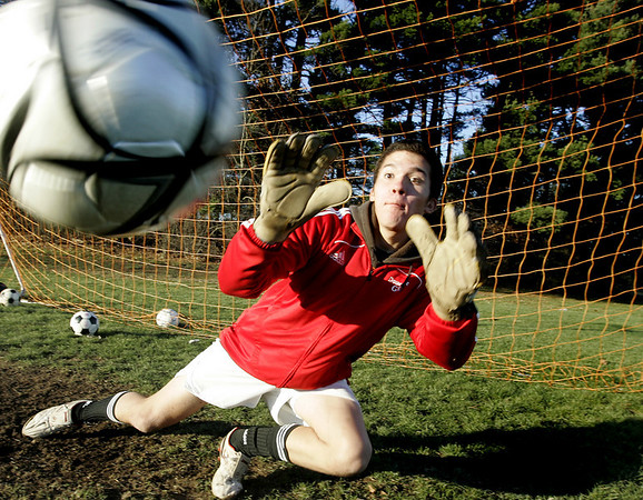 Boxford: Masconomet's Boys Soccer goalie Jon Doucette has had five straight shut outs in the playoffs. Photo by Deborah Parker/Salem News Friday, November 21, 2008