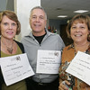 From left, Marcia Lewis of Marblehead Bank, George Barbuzzi of The Lafayette Rehabilitation and Skilled Nurshing Facility and Connie Paullis of Devereux House attend the launch of the Chamber Professionals Group, part of the Marblehead Chamber of Commerce, held at Marblehead Bank Monday evening. Photo by Deborah Parker/September 20, 2010