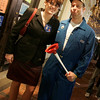 Salem: Christine Hamill of North Andover and Taylor Ryan of Ontario dressed as Sarah Palin and Joe the Plumber on Halloween Night. Photo by Deborah Parker/Salem News Friday, October 31, 2008.