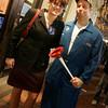 Salem: Christine Hamill of North Andover and Taylor Ryan of Ontario dressed as Sarah Palin and Joe the Plumber on Halloween Night. Photo by Deborah Parker/Salem News Friday, October 31, 2008.