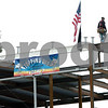 Beverly:<br /> The last beam was placed on the steel structure that will eventually become the new Beverly High School during a brief ceremony. <br /> Photo by Ken Yuszkus/Salem News, Monday May 18, 2009.