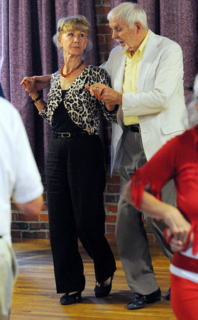 Salem:<br /> Anna Salaczynskyj and Frank Ryan dance at the Moose Hall Thursday evening. Salem's seniors had gathered to enjoy dinner and dancing.<br /> Photo by Ken Yuszkus/Salem News, Thursday, August 11, 2011.