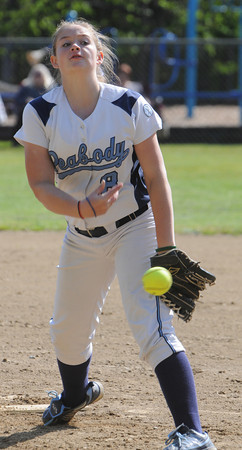Peabody:<br /> Peabody's pitcher, Shelbi Wilson, throws at the Swampscott at Peabody in Northeastern Conference softball game.<br /> Photo by Ken Yuszkus/Salem News, Monday, May 7, 2012.