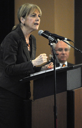 "Beverly:<br /> Massachusetts Attorney General Martha Coakley speaks to the students at Beverly High School. Massachusetts Attorney General Martha Coakley, Essex County District Attorney Jonathan Blodgett and AT&T mark a national ""No Text on Board Pledge Day"" by bringing AT&T's anti-texting and driving educational presentation – ""It Can Wait"" – to Beverly High School. <br /> Photo by Ken Yuszkus/The Salem News, Wednesday, September 19, 2012."