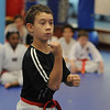 Beverly:<br /> Nathaniel Vega during practice of the childrens all belt class at DW Kim US Tae Kwon Do studio on Friday.<br /> Photo by Ken Yuszkus/Salem News, Friday, December 2, 2011.
