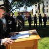 Marblehead:<br /> Fire Chief Jason  Gilliland begins the remembrance ceremony to commemorate the 11-year anniversary of the September 11th terrorist attacks. The ceremony was held at Memorial Park.<br /> Photo by Ken Yuszkus/The Salem News, Tuesday, September 11, 2012.