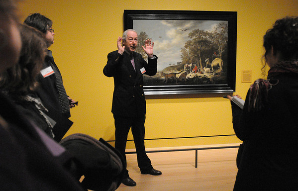 "Salem:<br /> Frederick Duparc talks about Aelbert Cuyp's painting of ""Orpheus Charming the Animals"" which is part of Peabody Essex Museum's new exhibit ""Golden: Dutch & Flemish Masterworks.""<br /> Photo by Ken Yuszkus/Salem News, Tuesday, February 22, 2011."