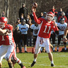 Topsfield:<br /> Masco's Ben Panunzio throws to a receiver at the North Andover at Masconomet football game on Thanksgiving Day.<br /> Photo by Ken Yuszkus/Salem News, Thursday, November 24, 2011.