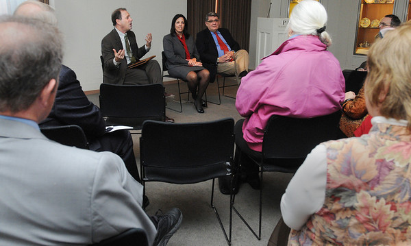 Salem:<br /> From left, Josh Basseches, coo of PEM, speaks about expansion plans of the PEM. Salem Mayor Kim Driscoll and Dan Monroe, ceo and executive director of PEM, are seated beside him.<br /> Photo by Ken Yuszkus/Salem News, Monday, November 7, 2011.