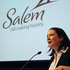 Salem:<br /> Kate Fox, executive director of Destination Salem, the city's tourism agency, speaks at the unveiling of their new tagline/brand, which is shown in the background, during its annual meeting.<br /> Photo by Ken Yuszkus/Salem News, Thursday, February 17, 2011.