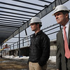Danvers:<br /> Jay Connolly, left, project manager, and Steve Connolly, owner, both of Connolly Brothers Inc., which has completed the steel for an indoor soccer complex in Danvers. It will be run by the Cragg family.<br /> Photo by Ken Yuszkus/Salem News, Monday, February 14, 2011.
