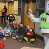 Hamilton:<br /> Buzz Lightyear greets the crowd at the start of the Buzz Lightyear Story Time at the Hamilton- Wenham Public Library on Tuesday morning.<br /> Photo by Ken Yuszkus/Salem News, Tuesday, April 3, 2012.