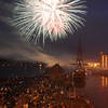 Salem:<br /> Fireworks over Salem Harbor viewed from the Custom House.<br /> Photo by Ken Yuszkus/Salem News, Wednesday, July 4,  2012.