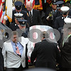 Beverly:<br /> The flag draped casket of Beverly firefighter Paul Roberts is carried out of Immanuel Congregational Church after his funeral.<br /> Photo by Ken Yuszkus/Salem News, Friday May 29, 2009.