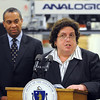 Peabody:<br /> Governor Patrick was at Analogic Corporation to make an announcement relative to job training. Joanne Goldstein, Secretary of Labor and Workforce Development, spoke prior to his speech. They had just toured the facility.<br /> Photo by Ken Yuszkus/Salem News, Tuesday, April 27, 2010.
