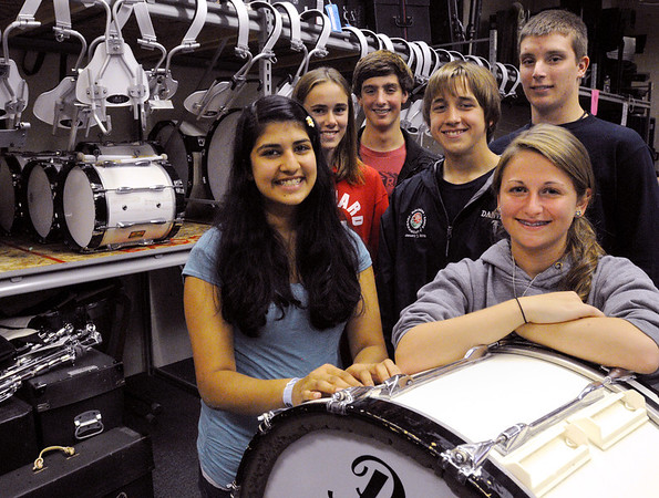 Danvers:<br /> From left, Aly Banerjee, Ellen Gagnon, Nick Caldarone, Tim Jordan, Terry Sweeney, and Cameron MacLeod, Danvers High Falcon band members, spoke about their Pearl Harbor visit on the eve of 70th anniversary of the bombing of Pearl Harbor.<br /> Photo by Ken Yuszkus/Salem News, Tuesday, December 6, 2011.