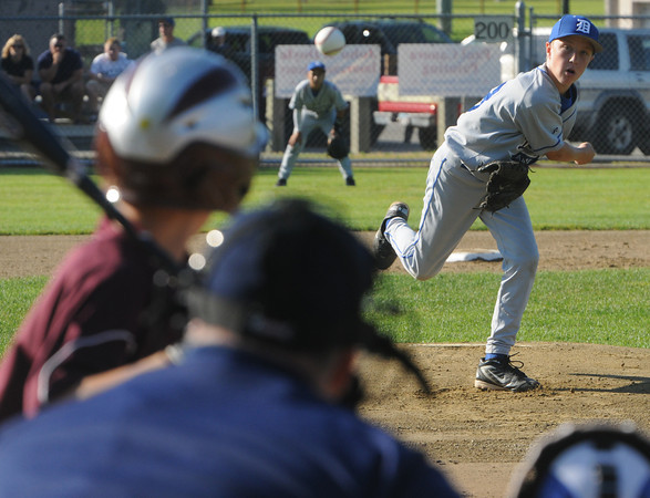 Danvers:<br /> Danvers American's pitcher Casey Bussone hurls one toward the plate during the Danvers American vs. Danvers National Little League Williamsport all-stars in District 15 baseball game at Brown Field.<br /> Photo by Ken Yuszkus/Salem News, Thursday, June 28,  2012.