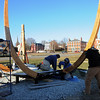 Salem:<br /> From left, Shawn Marler, Kevin Simard, and Dave Abesamro complete a stage shaped like a ship on Derby Wharf.<br /> Photo by Ken Yuszkus/Salem Newss, Wednesday,  December 8, 2010.