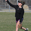 Beverly:<br /> Erin Sylvestri, one of the captains, during Beverly High softball practice at Innocenti Field.<br /> Photo by Ken Yuszkus/Salem News, Tuesday, April 3, 2012.