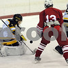 Peabody:<br /> Bishop Fenwick's goalie Craig Forrest prepares to deflect the oncoming puck during the Bishop Fenwick vs Tyngsboro boys hockey game at McVann-O'Keefe Rink.<br /> Photo by Ken Yuszkus/Salem News, Wednesday December 31, 2008.