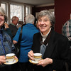 Salem:<br /> Katherine Brooker, left, and Nancy Jones, have cups of bouillon at Hamilton Hall before the speaker begins at the lecture series.<br /> Photo by Ken Yuszkus/Salem News, Thursday, February 17, 2011.