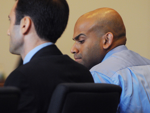 Salem;<br /> Ashley Fernandes, right, who is charged with killing his girlfriend Jessica Herrera, is in Salem Superior Court with his attorney David Grimaldi at the beginning of his trial.<br /> Photo by Ken Yuszkus/The Salem News, Thursday, September 6, 2012.