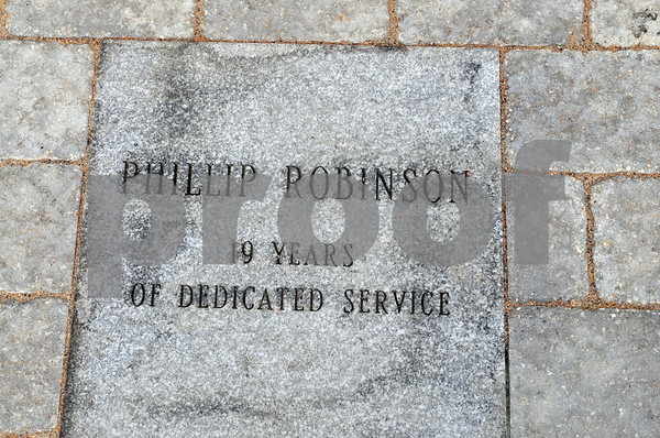 Salem;<br /> The stone with Phillip Robinson's name inscribed  at the memorial that was built at the Salem power plant. It is a rememberance for the three workers killed at the power plant one year ago.<br /> Photo by Ken Yuszkus/Salem News, Wednesday, November 5, 2008.