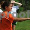 Salem:<br /> Jess Doyle is the Salem girls soccer coach who is also playing for Salem State women's soccer team. She is at the Salem High School practice.<br /> Photo by Ken Yuszkus/Salem News, Thursday, September 3, 2009.
