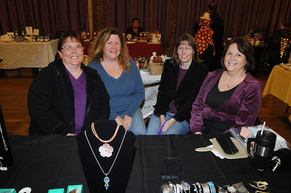 Salem:<br /> From left, Carla Wilkins of Salem, Cindy Mavroules of Peabody, Pam Dugar of Peabody, and Maureen Couillard of Beverly at the first annual Holly Fair at the Salem Moose Family Center presented by The Mack Park Neighborhood Association and The Salem Moose Family Center. <br /> Photo by Ken Yuszkus/Salem News,  Saturday,  November 6, 2010.
