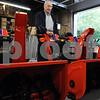Beverly:<br /> Leo Maestranzi, co-owner of Maestranzi Bros., with the Simplicity Signature Pro 1628P snowblower.<br /> Photo by Ken Yuszkus/Salem News, Wednesday, July 8, 2009.