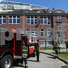 Peabody:<br /> The fire scene at 103 Central Street.<br /> Photo by Ken Yuszkus/Salem News, Friday, April 17, 2009.