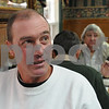 Salem;<br /> Todd Mentuck of Swampscott, speaks about the election while eating breakfast at Red's Sandwhich Shop the morning after the election.<br /> Photo by Ken Yuszkus/Salem News, Wednesday, November 5, 2008.