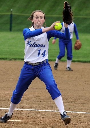 Marblehead:<br /> Danvers' pitcher, Kendall Meehan, pitches at the Danvers at Marblehead softball game.<br /> Photo by Ken Yuszkus/Salem News, Monday, May 23, 2011.
