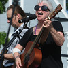 Salem:<br /> Julie Doherty singer for the band Julie Doherty & Friends, sings on stage at the Fourth of July activities at the Salem Maritime Site.<br /> Photo by Ken Yuszkus/Salem News, Wednesday, July 4,  2012.
