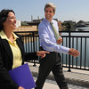 Salem:<br /> Senator John Kerry and Salem Mayor Kim Driscoll walk along Harborwalk. Senator John Kerry toured different areas of Salem with Mayor Kim Driscoll.<br /> Photo by Ken Yuszkus/Salem News, Wednesday August 11, 2010.