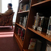 Beverly:<br /> Matthew LeBlanc reads a book in the light of the large windows at the Beverly Public Library on Thursday morning.<br /> Photo by Ken Yuszkus/Salem News, Thursday, January 19, 2012.