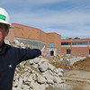 Danvers:<br /> DPW Director David Lane speaks about the construction at Danvers High School while on a tour of the school<br /> Photo by Ken Yuszkus/Salem News, Wednesday, April 6, 2011.