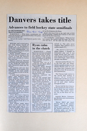 Danvers:<br /> A close up of Coach Barb Damon's scrapbook of the 1988 Salem News coverage of her team that won the North sectional final against Weston in the state tourney.<br /> Photo by Ken Yuszkus/Salem News, Friday, August 12, 2011.