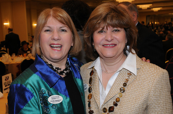 Peabody:<br /> Helene VanDernoot, left, and Elaine Champagne, both from North Shore Community College at the North Shore 100 Breakfast.The Economic & Public Policy Breakfast Forum was held at the  Peabody Marriott Hotel.<br /> Photo by Ken Yuszkus/Salem News, Wednesday, April 6, 2011.
