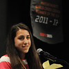 Peabody:<br /> Catarina Rocha  speaks at the podium in front of her banner after receiving her Gatorade State Athletes of the Year trophy at the Peabody Veterans Memorial High School. Hayley Dowd also won the award.<br /> Photo by Ken Yuszkus/Salem News, Wednesday,  March 14, 2012.
