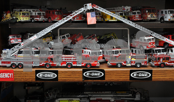 Danvers:<br /> A group of various Matchbox fire apparatus owned by George Corley which is part of his large collection of car models, Matchbox cars, and SciFi collectibles.<br /> Photo by Ken Yuszkus/Salem News, Thursday, April 30, 2009.