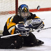 Peabody:<br /> The puck gets past Bishop Fenwick's goalie Hannah Dragonas during the Bishop Fenwick at Peabody girls hockey game at the McVann O'Keefe Rink.<br /> Photo by Ken Yuszkus/Salem News, Monday, December 26, 2011.