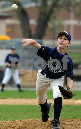 Danvers:<br /> Brendan Cross pitches for the Rays during the Athletics vs the Rays Little League game at Memorial Field at Plains Park.<br /> Photo by Ken Yuszkus/Salem News, Saturday May 9, 2009.