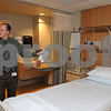 Salem:<br /> Kevin Ronningen, from public relations, explains the the renovations while inside one of the new private rooms at the North Shore Medical Center.<br /> Photo by Ken Yuszkus/Salem News, Wednesday,  January 7, 2009.