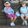 Marblehead:<br /> Betty Monahan, left, and Doris Meehan, both of Marblehead sit on a bench in the shade on Washington Street in the afternoon taking in the sights of the Marblehead Festival of Arts.<br /> Photo by Ken Yuszkus/Salem News, Monday, July 2,  2012.