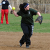 Middleton:<br /> Christine Cafiso throws to first at North Shore Tech High School softball practice. <br /> Photo by Ken Yuszkus/Salem News, Monday,  April 2, 2012.