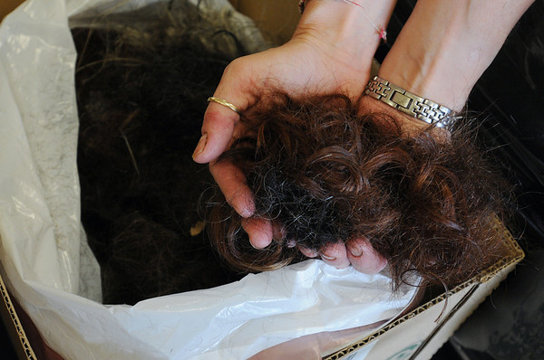 Beverly:<br /> Cala Renee Mahoney, owner of Cala Renee Salon, holds cut hair that she is donating which will be used to help soak up the oil in the Gulf Coast oil spill.<br /> Photo by Ken Yuszkus/Salem News, Tuesday, May 4, 2010.