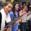 Hamilton:<br /> From left, Meghan Sedgwick, Lizzie Flynn, Lanie Preston, and Bridget Johnson practice singing with the group of students for the Hamilton-Wenham Regional High School's 18th annual Hearts and Flowers Cabaret which will be Wednesday, February 8.<br /> Photo by Ken Yuszkus/Salem News, Tuesday, January 31, 2012.
