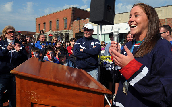 Danvers:<br /> Meghan Duggan, 2010 U.S. women's hockey silver medalist from Danvers, speaks to the crowd gathered in Danvers Square at the end of the parade in her honor.<br /> Photo by Ken Yuszkus/Salem News, Sunday, March 21, 2010.