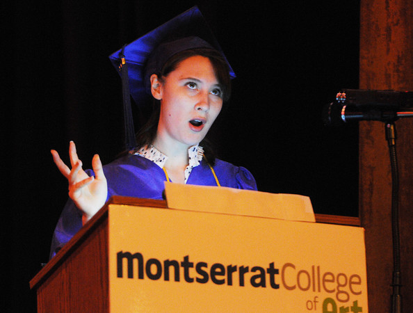 Beverly:<br /> Student speaker Arielle Winchester gives her speech at the podium during commencement ceremonies.<br /> Photo by Ken Yuszkus/Salem News, Friday, May 25, 2012.